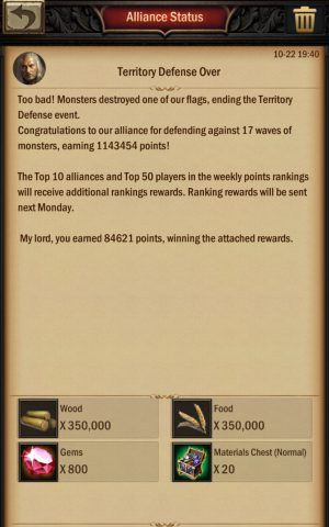 War and Order Territory Defense Rewards