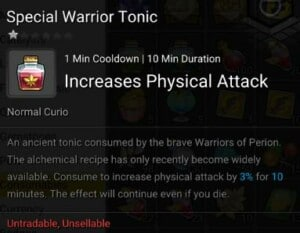 Maplestory 2 Runeblade Consumables Special Warrior Tonic