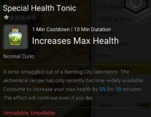 Maplestory 2 Runeblade Consumables Special Health Tonic