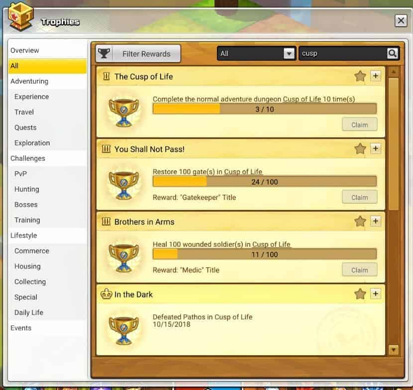 Maplestory 2 Trophy Guide dungeon trophies