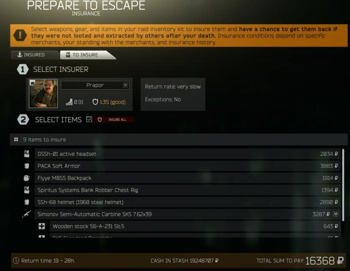 Escape From Tarkov Beginner's Guide How To Insure Items