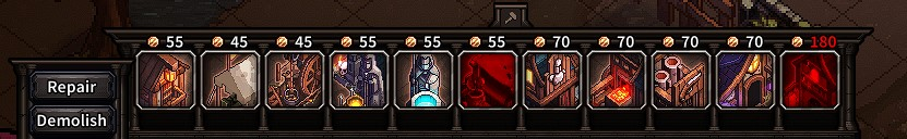 The Last Spell Buildings And Their Gold Costs